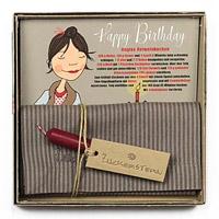 """Geschirrtuch mit Rezeptpostkarte """"Geburtstagskuchen"""" und Kerze"""