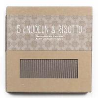 Geschirrtuch braun mit 5 Nudel- und Risotto- Rezeptpostkarten