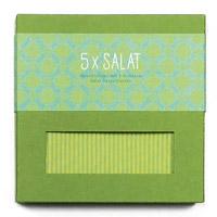 Geschirrtuch grün mit 5 Salat-Rezeptpostkarten