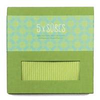 Geschirrtuch grün mit 5 Süßspeisen-Rezeptpostkarte